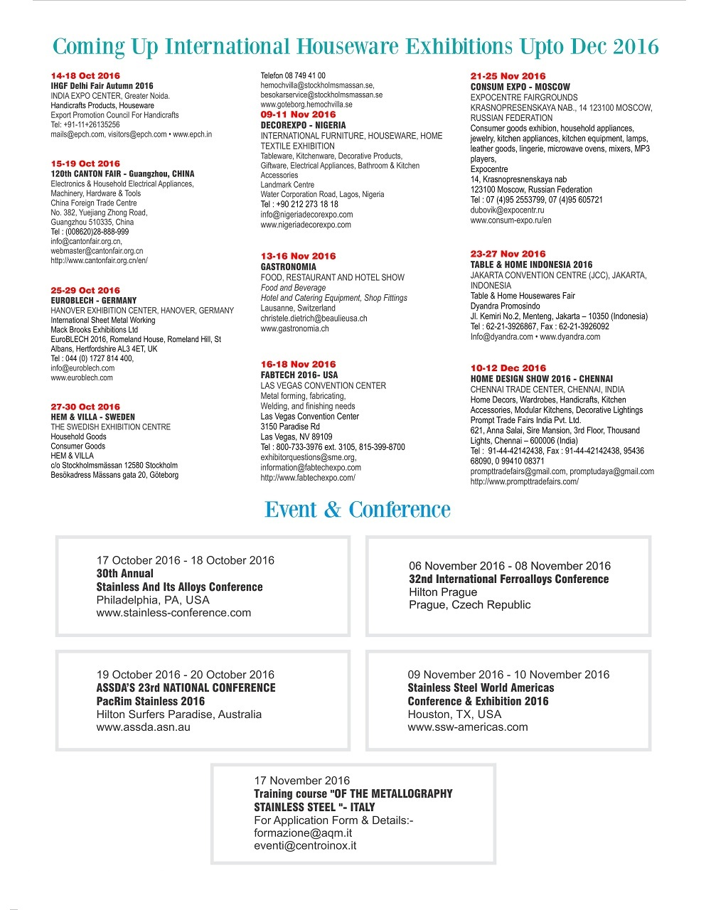 Steel market info house ware publication stainless steel fair events calender falaconquin
